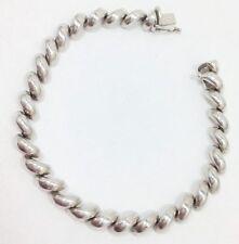 Modern San Marco Macaroni Link Chain Bracelet Sterling Silver 7 1/2 In FMGE 925