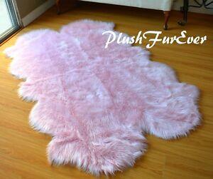 "58"" x 84""  Baby Pink Nursery Girl Area Rug Sheepskin Rugs Faux Fur Cute Decor"