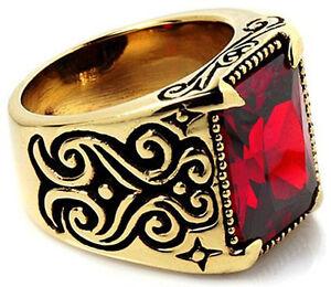 BIG RED RUBY TRIBAL TATTOO GOLD BRASS RING Sz 8 NEW PUNK ROCK BIKER JEWELRY