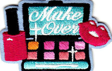 """MAKEOVER"" -  IRON ON EMBROIDERED PATCH APPLIQUE/GIRLY, BEAUTY, FASHION, MAKEUP"