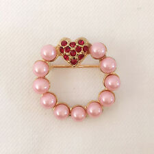 New Pink Heart Pearl Round Crystals Brooch Pin Wedding Party Love Gift BR1090A