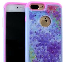 For iPhone 7+ Plus - HYBRID HARD&SOFT DIAMOND BLING CASE COVER WATERCOLOR FLOWER