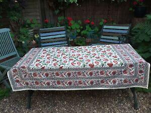 Indian Cotton Hand Block Print Tablecloth Floral Poppy Design 150cm x 130cm BNWT