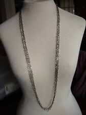 """Vintage Necklace chain only silver tone metal FIG 8 LINK STRONG 40"""" 3 STRANDS"""