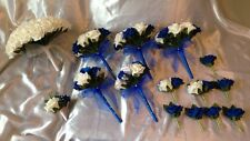 WEDDING PACKAGE-ARTIFICIAL FLOWERS FOAM ROSE BOUQUETS ROYAL BLUE/WHITE BRIDE