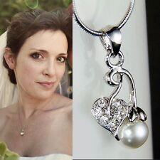 Bridal Wedding w Swarovski Crystal Pearl CHERRY Juicy Fruit Pendant Necklace New