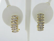 Cluster Accent Diamonds Solid 14k Two-Tone Gold Huggie Earrings