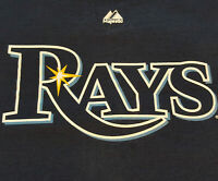 Tampa Bay Rays Logo T Shirt XL X-Large MLB EUC Baseball Majestic Blue INV261