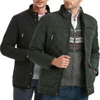 Mens Diamond Quilted Jacket Fleece Lined Coat Country Outdoor Thick Winter Work