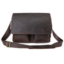 Vintage Retro Mens Briefcase Messenger Shoulder Bag Crossbody Leather Brown