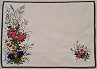 VINTAGE FLORAL ART ALPINE FLOWERS PRINT WHITE BLUE PINK COTTON COASTER DOILY