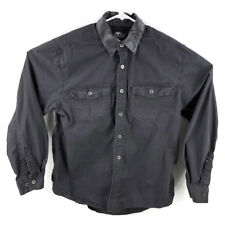 Harley Davidson Mens Large Black L/S Button Down Shirt Leather Collar