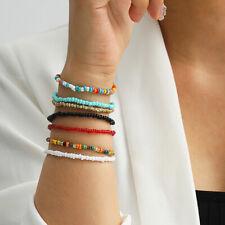 7pcs/set Boho Adjustable Handmade Beads Seed Beaded Bracelets Bangle Jewelry ZT