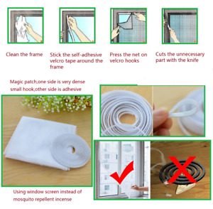 One White Large Window Screen Mesh Net Insect Fly Bug Mosquito Moth Door Netting
