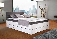 BOXBETT GLOBE 140x200cm weiß/anthrazit Bettkasten TOPPER in BOXSPRINGBETT OPTIK