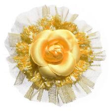 Broche pince bibi soiree cérémonie fleur camélia tulle laine JAUNE POUSSIN