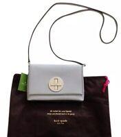 Kate Spade Newbury Lane Sally Lighy Grey Leather Crossbody Purse NWT RET $145