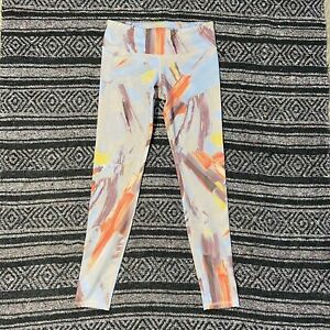 Alo Leggings High Waist Size Small Pink Blue Purple Abstract Yoga Running Gym