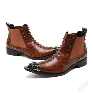 Men's Winter Fashion Metal Heads Pointy Toe Rivet Chukka Casual Leather Boots