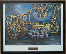 Sukkot by Julia Puskin - 20''x16'' frame, Grape and Vase wall art