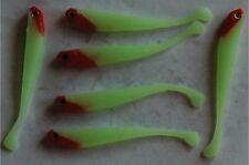 6 leurres souples phospho tête rouge pêche perche black bass 8cm