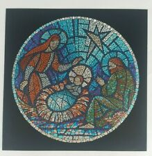 1994 Rolan Johnson Mosaic Holy Family Vintage Square Christmas Blessings