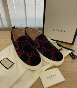 NWT Gucci Mens Shoes Leather velvet GG Guccissima Loafer Slip on black/red us 10