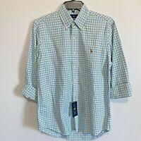 Polo Ralph Lauren Mens Shirt XLT L/S Green Blue Oxford Classic Fit $110