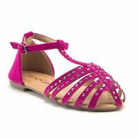 Jazamé Little Toddler Girls Gladiator  Embellished T-Strap Closed Toe Sandals