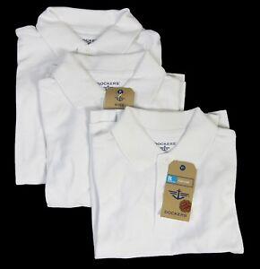 Dockers Little Boy Uniform Short Sleeve Cotton Polo Shirt White 3-PACK Small (4)