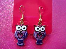 Purple Owl Dangle Earrings