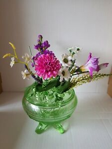 Vintage.Green Glass, Rose Bowl with Frog.