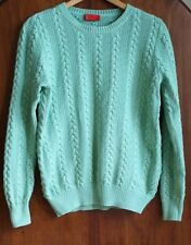 PRINGLE Mint Green Cotton Cable Knit Jumper Sweater size Large 10 12 14 16