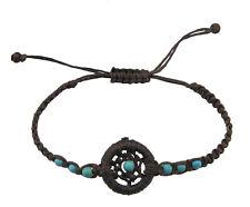 Bracelet brown dreamcatcher beads turquoise blue adjustable BB 21049