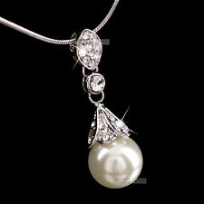 18K WHITE GOLD GF MADE WITH SWAROVSKI CRYSTAL WEDDING PENDANT PEARL NECKLACE