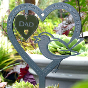 Personalised Memorial Plaque Heart - Robin Grave Marker Remembrance Sympathy