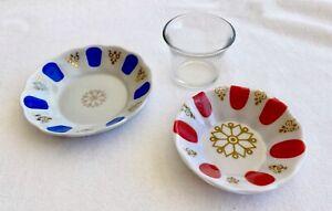 Authentic Turkish Traditional Porcelain Depa Melamine Unzelar Tea Saucer & Glass