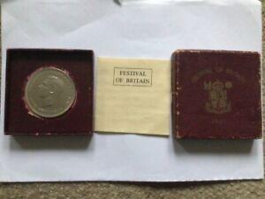 1951 Festival of Britain George VI Commemorative Five Shillings Crown Coin & Box
