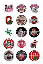 """OHIO STATE BUCKEYES NATIONAL CHAMPS! bottle cap images 15 precut 1"""" circles"""