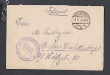 POLAND GERMANY 1918 WWI FELDPOST MILITARY COVER & CONTENTS WARSAW TO BERLIN