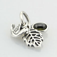 Pandora .925 Sterling Silver Charm Forest Trinity, Peridot Bird Leaf