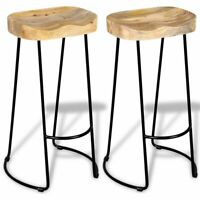 2 Piece Bar Stools Rustic Kitchen Dining Room Chair Iron Leg Wooden Seat