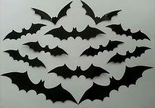 New Set of 12 Small PVC Bat Shape Halloween Wall Decorations.