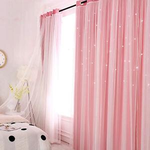 Blickdicht Doppelschicht Sterne Gardinen Vorhänge Kindergardinen Wohnzimmer DHL
