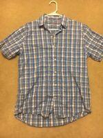 Men's IZOD blue plaid short sleeve button front shirt Medium-Perfect Condition!!