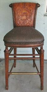 Thomasville Ernest Hemingway Collection Marlin Leather and Rattan Bar Stool