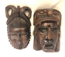 """Lot of 2 - 12"""" Heavy Wooden Tribal Masks - man and woman"""