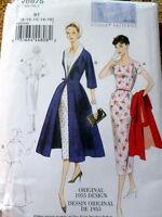 1950s VOGUE VINTAGE MODEL DRESS & COAT SEWING PATTERN 16-18-20-22-24 UNCUT
