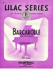 "PIANO ARRANGEMENT - ""BARCAROLLE"" - OFFENBACH'S ""TALES OF HOFFMAN"" (c.1950)"