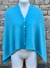 * OSPREY LONDON * Graeme Ellisdon BUTTON WRAP PONCHO Shawl Shrug  Summer Blue